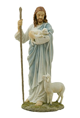 11.38 Inch Jesus The Shepherd Decorative Figurine, Pastel Color