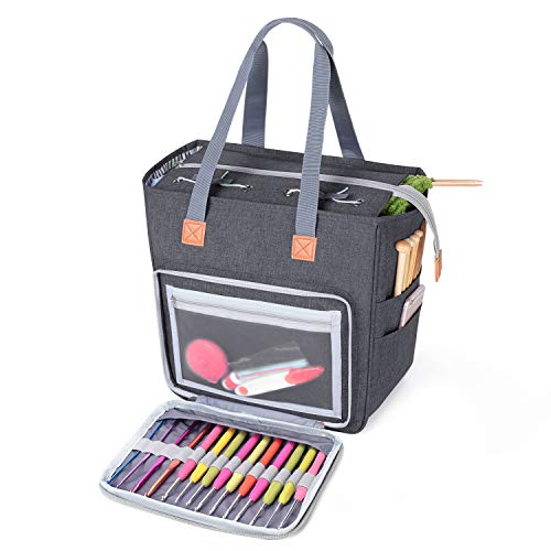 Luxja Small Knitting Tote Bag, Yarn Storage Bag for Carrying Projects, Knitting Needles, Crochet Hooks and Other Accessories, Gray