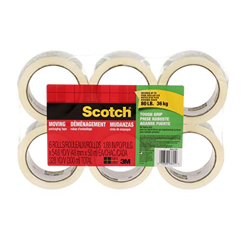 Scotch 35006ESF Tough Grip Moving Packaging Tape, 1.88-Inch x 54.6 yds, 6 Rolls/Pk