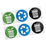 Alvinlite Identificazione Circolare della Raccolta dei rifiuti dell'adesivo del Cestino per i bidoni della Spazzatura, Decalcomania del Segno 60 Pezzi/Set