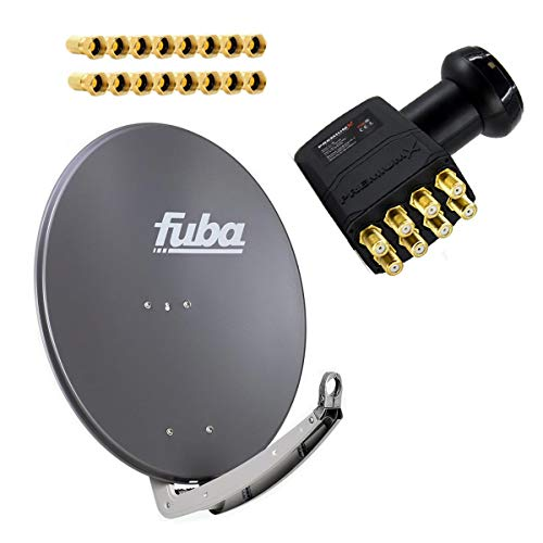 Fuba Antenne 85x85 cm Alu Anthrazit DAA 850 A mit LNB Octo 0,1 dB PremiumX PXO zum Direktanschluss von 8 Teilnehmern Digital HDTV FullHD 3D tauglich inkl. 16 F-Stecker vergoldet