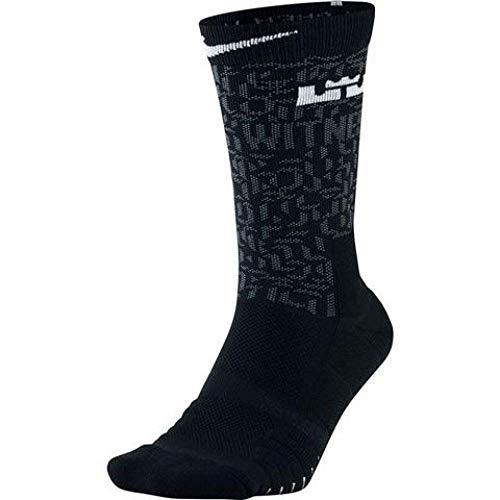 Unisex LeBron Elite Quick Crew Basketball Socks BLACK/COOL GREY/WHITE (MEDIUM)