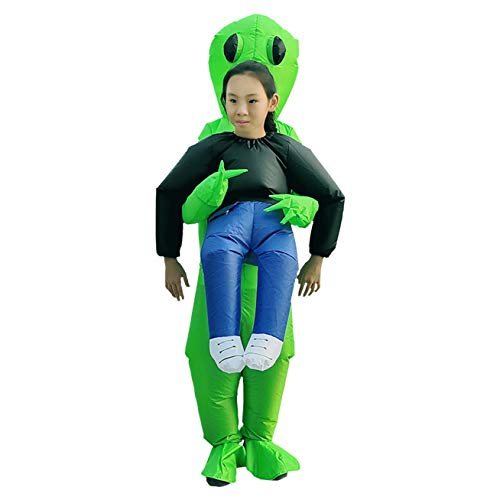 Alecony Aufblasbare Kleidung, grüner Alien trägt menschliches Kostüm, Halloween-Party, aufblasbar, lustige Aufblas-Anzug, Cosplay für Partykleidung, Geister, Erwachsene, zum Wandern Kid (B)