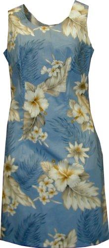 Pacific Legend Womens Plumeria Hibiscus Feather Fern Short Tank Dress Blue M