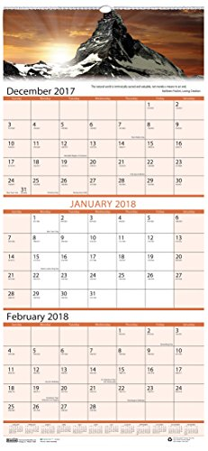 House of Doolittle 2018 Wall Calendar, Three-Month View, Earthscapes Scenic, 12.25 x 26 Inches, December - January (HOD3638-18)