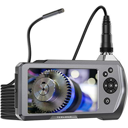 Teslong Inspection Camera, 1080P Waterproof Borescope with 4.5inch IPS Monitor, Industrial Endoscope Camera with LED Light, 16.5ft Snake Camera Cable, Visual Inspection for Automobile House Pipe HVAC