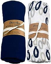 Oliver & Rain Organic Muslin Swaddle Sampler, 2-pack Newborns - Whale Print and Navy