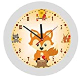 Kinderwanduhr in 4 Farben  Fuchs Fox orange  Wanduhr  KEIN TICKEN  mit/ohne Name