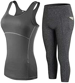BEESCLOVER YD Gym Woman Sportswear Yoga Set Tracksuit for Women Leggings for Fitness Tight Running Pants Female Sleevess Vest Top