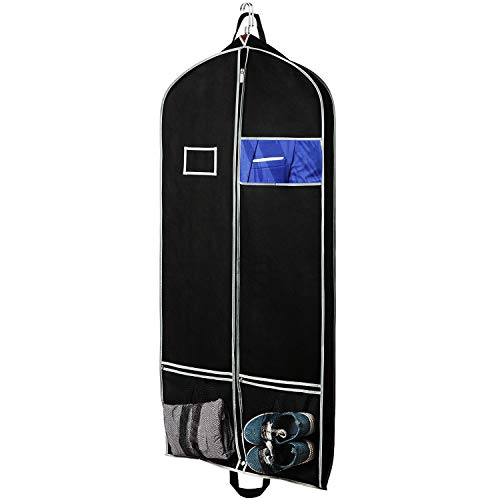 Zilink Breathable Hanging Garment Bags for Travel 54' Dress Suit Cover with 2 Large Mesh Pockets and a PVC Card Holder, Black