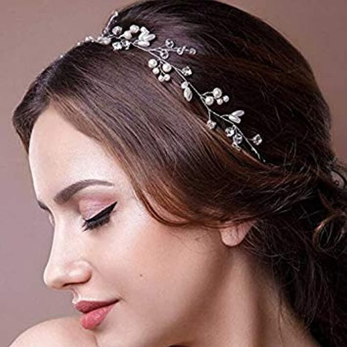 Catery Bride Wedding Headband Silver Crystal Bead Hair Vine Pearl Accessories for Women and Girls