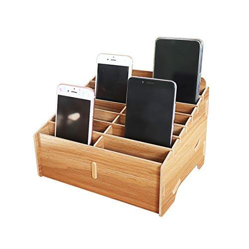 GLOTRENDS 14-Grid Wooden Cell Phone Holder Desktop Organizer Storage Rack for Classroom Office (Rack14)