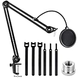 EJT Heavy Duty Microphone Stand-19' Extended Mic Arm Stand Suspension Scissor Boom Stands with 6' Pop Filter and 6 Pcs Cable Ties for Blue Yeti Snowball