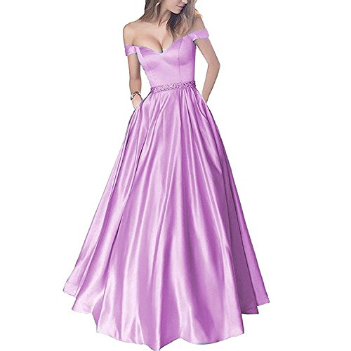 Lemai Women's Off Shoulder Beaded Satin V Neck Corset Long Prom Dresses Evening Gowns 6 Lilac (Apparel)