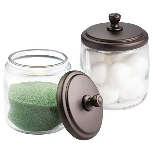 mDesign Bathroom Vanity Glass Storage Organizer Canister Apothecary Jars for Cotton Swabs, Rounds, Balls, Makeup Sponges, Beauty Blenders, Bath Salts - Pack of 2, Clear/Bronze