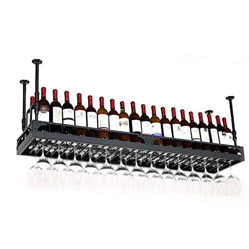 Estantes para vino negro Porta vino tipo techo, altura ajustable, Porta botellas de vino montado en la pared Estantes colgantes para copas de vino, Estantes para copas, Estantes para tazas, Estantes