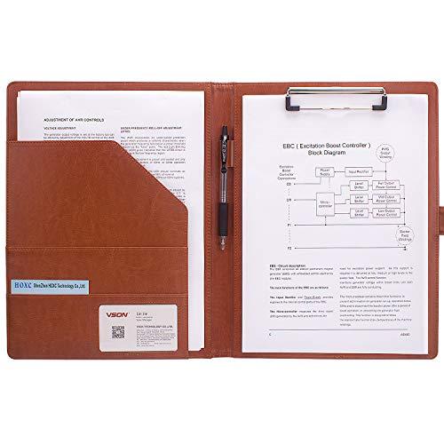 A4 Klemmbrettmappe Portfolio A4 Papier Datei Ordner für Legal Pad Papier für Büro Konferenz (braun)