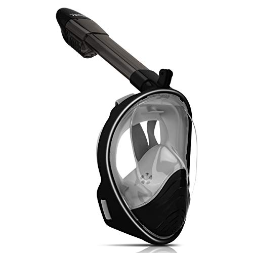 Vaincre 180° Full Face Snorkel Mask with Panoramic View Anti-Fog, Anti-Leak with Adjustable Head Straps - See Larger Viewing Area Than Traditional Masks for Adult (Black, Large/Extra Large)