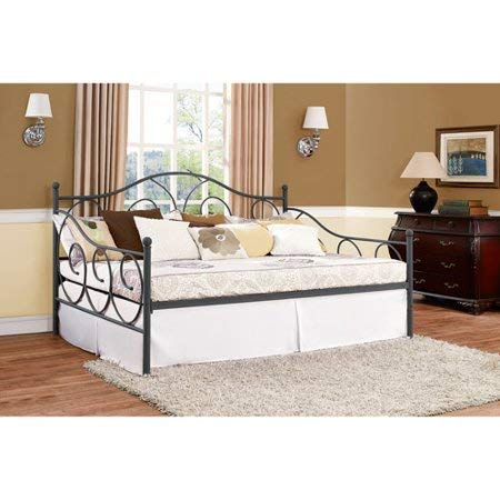 Sturdy Victoria Bed Frame Daybed Metal Platform Slat Support Easy-Assembly Heavy Duty Durable Under-Bed Storage Headboard Full Size Finial Design Extra Seating Bedroom Guest Room, Pewter Finish