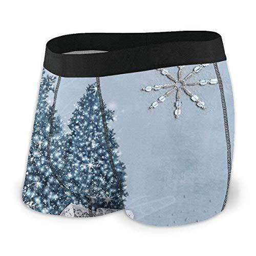 XCNGG Calzoncillo Tipo bóxer para Hombre Snow Blue White Ball Merry Christmas Fly Front con Bolsa Ropa Interior