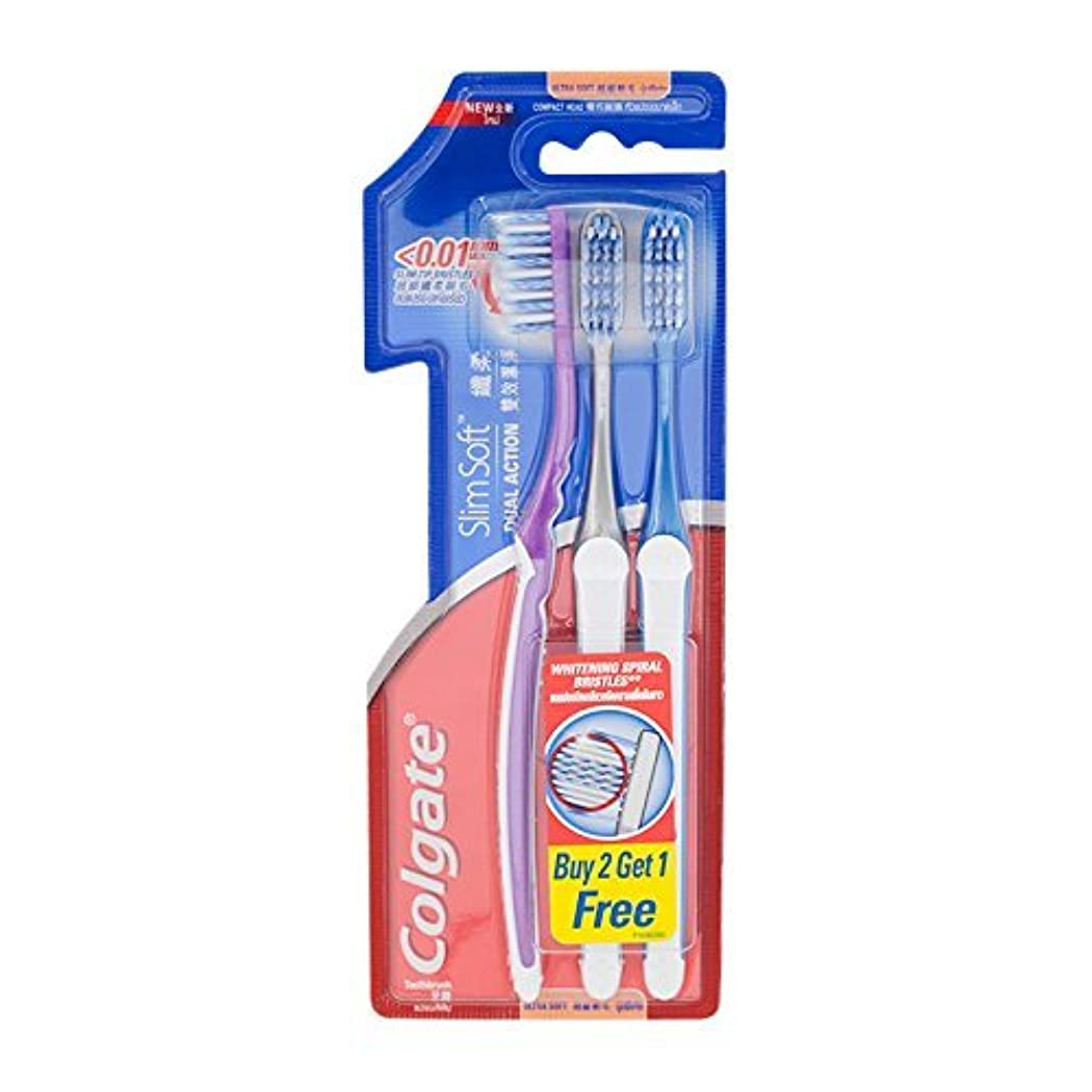 完全に高速道路施設Colgate Compact Ultra Soft Dual Action | Slim Soft Toothbrush, Family Pack (3 Bristles) by BeautyBreeze