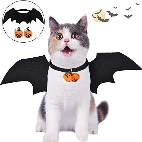 Katze Bat Wings Kostüm, Halloween Katze Kleidung, Pet Hund Bat Wings Katze Fledermaus Kostüm, Katze Fledermaus Kostüm, Haustier Fledermausflügel mit 2Pcs Pumpkin Bell(Pet Hund Bat Wings Bat Wings)