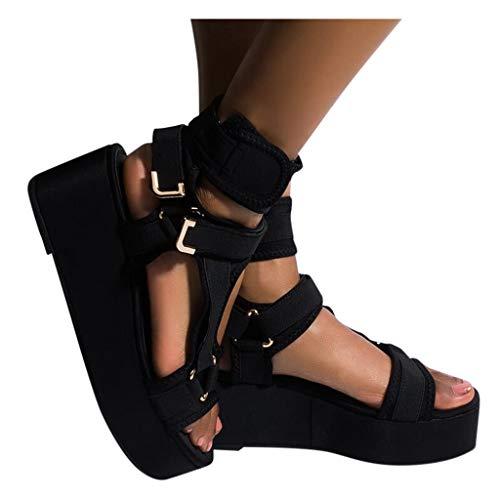 Writtian Sandalia de Plataforma para Mujer, Verano Casual Alpargatas de Cuña Plateau Moda Sandalia de Mujer Estilo Bohemio,Fondo Grueso Sandalias