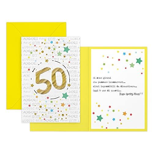 ARKRAFT biglietto auguri compleanno con numero d'oro 50 Anni (Unisex, A-050)
