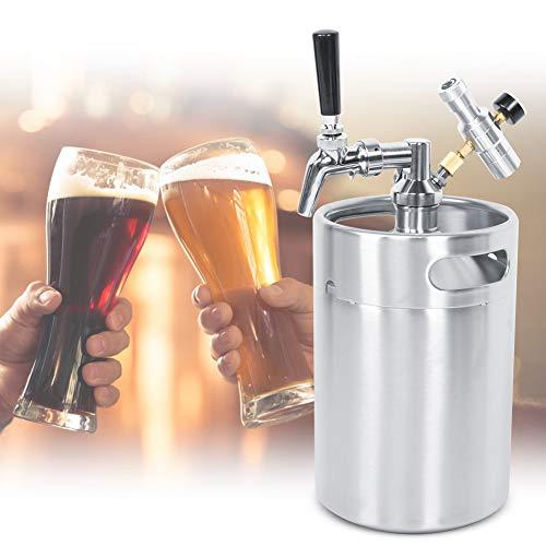 【𝐏𝐫𝐨𝐦𝐨𝐜𝐢ó𝐧 𝐝𝐞 𝐒𝐞𝐦𝐚𝐧𝐚 𝐒𝐚𝐧𝐭𝐚】 Sistema de Barril de Cerveza de 5L, dispensador de Lanza de Barril de Cerveza de Barril de Cerveza de Acero Inoxidable Manómetro de Clase 2, para Cerve