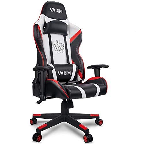 VADIM Racing Chair Weiß/Roter Gaming-Stuhl Für Das Home Office, Ergonomischer Bürostuhl Mit Kopfkissen Und Kissenstütze