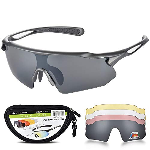 HUBO SPORTS Cycling Glasses, TR90 Unbreakable Frame Polarized Sports Sunglasses, Bike Glasses for Men Women with 5 Interchangeable Lens, Anti-UV400 for Driving Fishing Glof Baseball Running Hiking