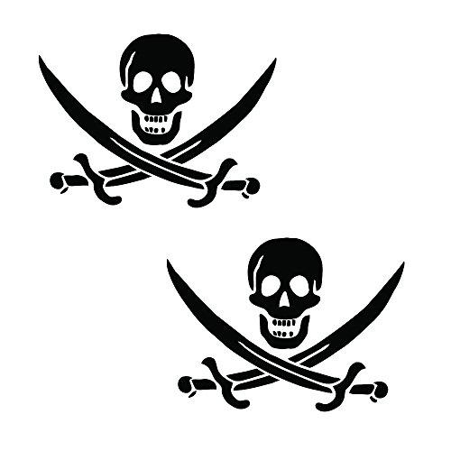 "Auto Vynamics - PPFS-JR07-6-GBLA - Gloss Black Vinyl ""Jolly Roger"" Pirate Flag Symbol Decal - John ""Calico Jack"" Rackham (Rackam / Rackum) Skull & Crossed Swords Design - Matching Pair - (2) Piece Kit - 6-by-4.5-inches"