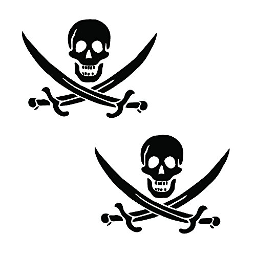 "Auto Vynamics - PPFS-JR07-6-GBLA - Gloss Black Vinyl ""Jolly Roger"" Pirate Flag Symbol Decal - John ""Calico Jack"" Rackham (Rackam / Rackum) Skull & Crossed Swords Design - Matching Pair - (2) Piece Kit - 6-by-4.5-inches"