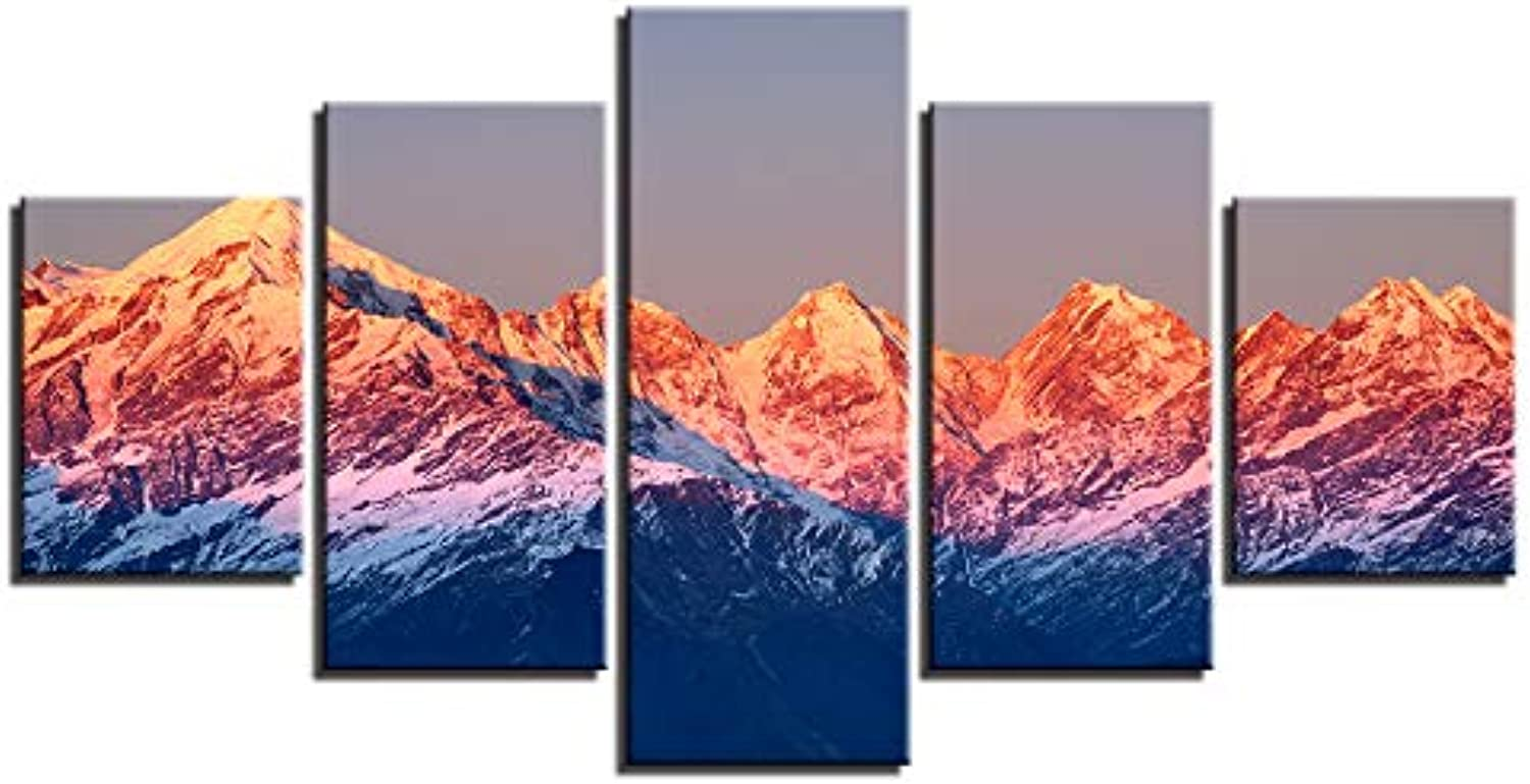 Canvas Paintings Home Decor Living Room Wall Art 5 Pieces Mountain Sunset Volcano Landscape Pictures HD Prints Poster Framework
