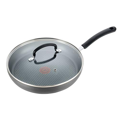 T-fal Nonstick Dishwasher Safe Cookware Lid Fry Pan, 12-Inch, Black