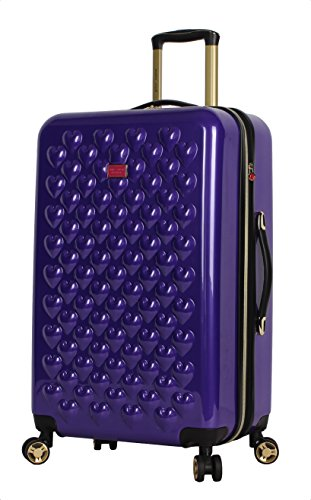 Betsey Johnson 26 Inch Checked Luggage Collection - Expandable Scratch Resistant (ABS + PC) Hardside Suitcase - Designer Lightweight Bag with 8-Rolling Spinner Wheels (Heart to Heart Purple)