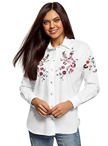 oodji Ultra Damen Lässige Bluse mit Stickerei, Weiß, DE 40 / EU 42 / L