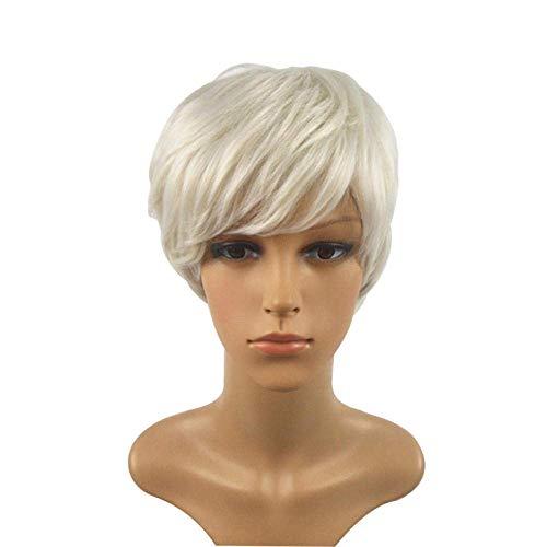 Perruque Charme Naturel Lâche Bouclés Cheveux Perruques pour Les Femmes Âgées Moyennes Argent Blanc Court Droite Fibre Naturel Cosplay Halloween Robe Partie Perruques