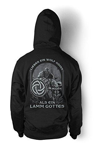 Uglyshirt89 Lieber EIN Wolf Odins als EIN Lamm Gottes Männer und Herren Kapuzenpullover | Odin Wikinger Walhalla Geschenk | M1 FB (Schwarz, XL)