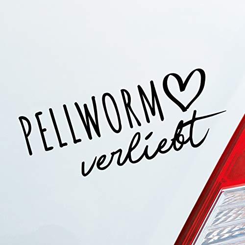 Hellweg Druckerei Auto Aufkleber Pellworm verliebt Herz Insel Nordsee Liebe Car Sticker Schwarz Glanz