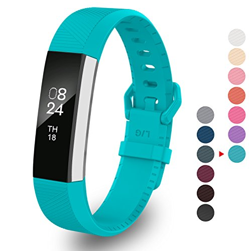 Greeninsync Compatible with Fit Bit Alta Replacement Band,Classic Alta HR Accessory Band Small Watch Buckle Wristband for Fit Bit Alta/Fit Bit Alta HR/Ace Strap Bracelets W/Metal Clasp&Fastener(Teal)