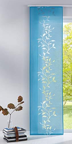 Gardinenbox Moderner Flächenvorhang Raumtrenner Schiebegardine Tendril aus hochwertigem Ausbrenner-Stoff mit Paneelwagen, 245x60 (HxB), Türkis, 85611