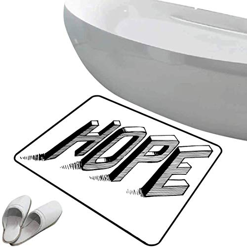Non-Slip Bathroom Rug Hope Soft Skidproof Bath Mat Safe Area Sketch Letters with Stripes Spelling Hope Hand Drawn Calligraphic Arrangement,Black and White Doormat Bedroom Living Room Kitchen Decoratio