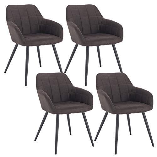 WOLTU 4 x Esszimmerstühle 4er Set Esszimmerstuhl Küchenstuhl Polsterstuhl Design Stuhl mit Armlehne, mit Sitzfläche aus Stoffbezug, Gestell aus Metall, Dunkelbraun, BH224dbr-4