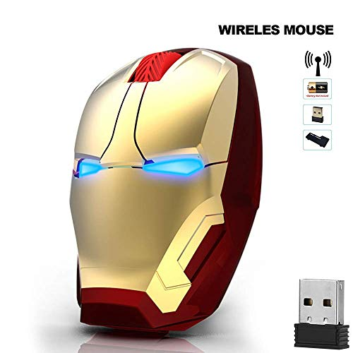 Avengers Endgame Iron Man Mouse Wireless Mouse Ergonomic 2.4 G Portable Mobile Computer Click Silent Mouse Optical Mice with USB Receiver Gaming Mouse (Gold)