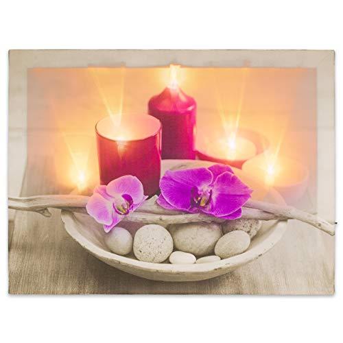 Nexos LED Wandbild Leinwandbild mit Beleuchtung Fotodruck Orchidee 30x40 cm Kunstdruck Leuchtbild 5 warmweiße Flacker Effekt LED Sonnenuntergang Wellness