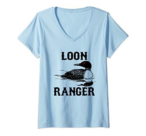 Womens Loon Ranger Funny Common Loon Bird Watching Outdoor Gift V-Neck T-Shirt (Ranger Little Bird)