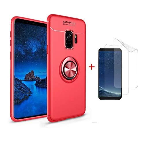 SHYHONG compatibele Samsung S8 Case Siliconen Ring gesp+Gehard glas, Bumper Hoes, Red+Red, Samsung S9 Plus