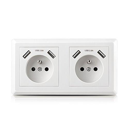 Toma de pared doble Kaifire con 4 puertos USB, toma de corriente estándar francesa y cargador USB - Apto para Apple / Android