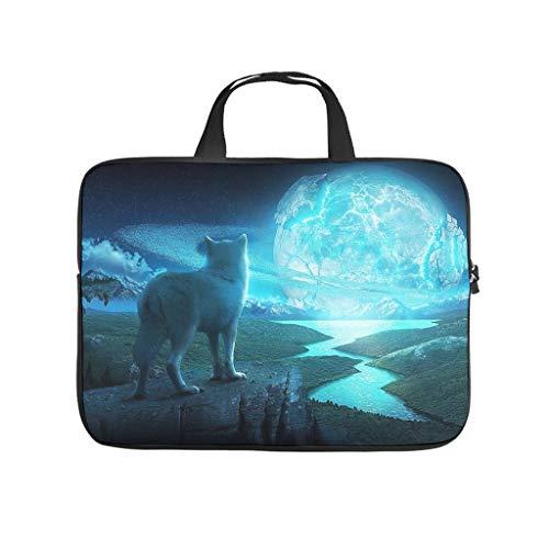 Rivernight Blue Moon Wolf Printed Laptop Sleeve Case Protective Waterproof Neoprene Laptop Sleeve Case for Women Men
